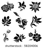 Stock vector set of black flower design elements from my big flower set collection 58204006