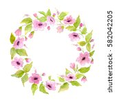 watercolor nature flower wreath....   Shutterstock . vector #582042205