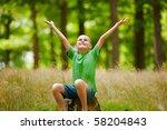 portrait of a cute kid outdoor...   Shutterstock . vector #58204843