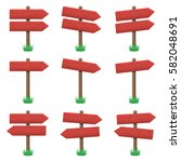 vector set of wooden arrow... | Shutterstock .eps vector #582048691