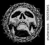 skull with thorns. vector... | Shutterstock .eps vector #582053641