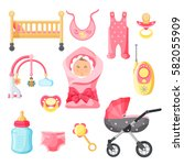 newborn girl things vector... | Shutterstock .eps vector #582055909