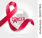 world cancer awareness ribbon... | Shutterstock .eps vector #582057841
