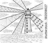 seascape line art design for...   Shutterstock .eps vector #582058027