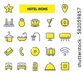 hotel services icons set....   Shutterstock .eps vector #582059857
