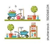 concept of gardening. garden... | Shutterstock .eps vector #582068134