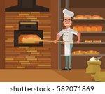 baker man character bakes bread.... | Shutterstock .eps vector #582071869