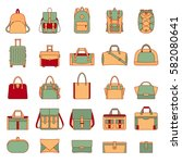 colorful set of women's and men'... | Shutterstock .eps vector #582080641