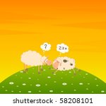 vector cartoon sheep sleeps on... | Shutterstock .eps vector #58208101