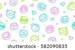 funny hand drawn seamless...   Shutterstock .eps vector #582090835