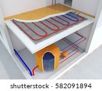 radiant underfloor heating ... | Shutterstock . vector #582091894