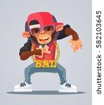 cool monkey rapper character in ... | Shutterstock .eps vector #582103645