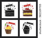 happy birthday greeting cards... | Shutterstock .eps vector #582109705