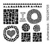 set of black mosaic design... | Shutterstock .eps vector #582109735
