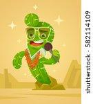 happy cactus character sing... | Shutterstock .eps vector #582114109