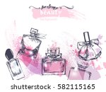 beautiful perfume bottle  on... | Shutterstock .eps vector #582115165