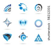 various blue abstract icons...