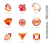 various red abstract icons... | Shutterstock .eps vector #58212340