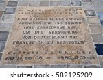 Small photo of Reims, France - july 25 2016 : commemoration sign of the de Gaulle and Adenauer metting in july 1962