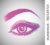 illustration with woman's eye... | Shutterstock .eps vector #582135715