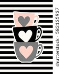 stacked cute coffee cups in... | Shutterstock .eps vector #582135937