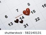 valentines day  love calendar. | Shutterstock . vector #582140131
