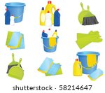 plastic bucket with cleaning... | Shutterstock .eps vector #58214647