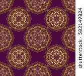 pattern with golden elements on ... | Shutterstock . vector #582149824