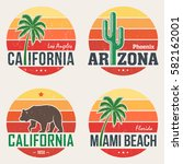 set of california  arizona ... | Shutterstock .eps vector #582162001