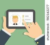 login and password. log in into ... | Shutterstock . vector #582162277