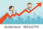 businessman and businesswoman... | Shutterstock .eps vector #582162745