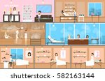 spa center inetrior set.... | Shutterstock .eps vector #582163144
