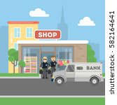 cash transit guards with van.... | Shutterstock .eps vector #582164641