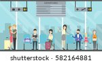 waiting room in airport with...   Shutterstock .eps vector #582164881