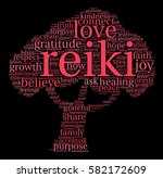 reiki word cloud on a black... | Shutterstock .eps vector #582172609