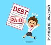 cartoon businesswoman paid his... | Shutterstock .eps vector #582173605