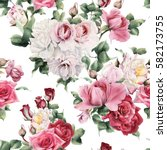 seamless floral pattern with... | Shutterstock . vector #582173755