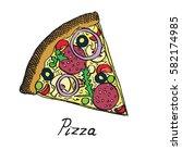 hot italian pizza slice with...