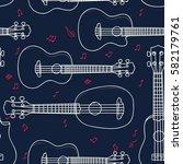 hawaiian ukulele outline...   Shutterstock .eps vector #582179761
