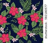 hawaiian floral seamless pattern | Shutterstock .eps vector #582180577