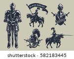 set of medieval knights ... | Shutterstock .eps vector #582183445