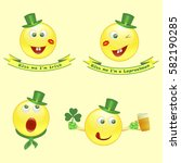 set of vector smile icons on... | Shutterstock .eps vector #582190285