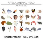 flat africa flora and fauna map ... | Shutterstock .eps vector #582191635
