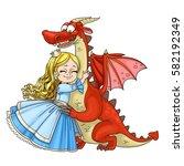 little princess hugs dragon...