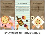set of persons are eating  top... | Shutterstock .eps vector #582192871