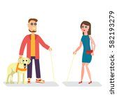 blind man with walking stick... | Shutterstock .eps vector #582193279