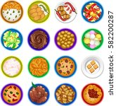 16 round food plates   Shutterstock .eps vector #582200287