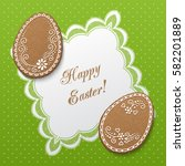 happy easter greeting card with ... | Shutterstock .eps vector #582201889