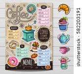 coffee restaurant brochure... | Shutterstock .eps vector #582203191