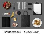 grill bar identity mock up  3d... | Shutterstock . vector #582213334